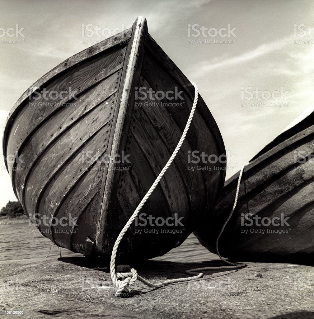 Old Wooden Boat Bow Close-up, Black and White, Sepia royalty-free stock photo