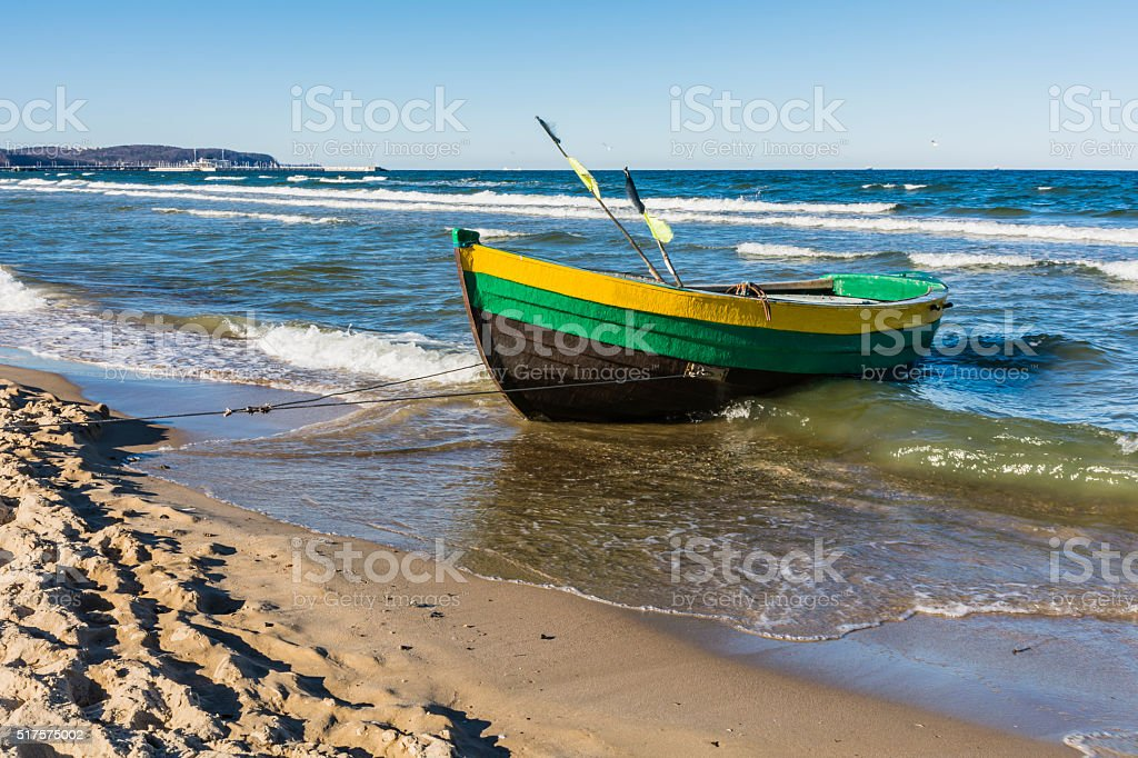Old wooden boat fishermen. stock photo