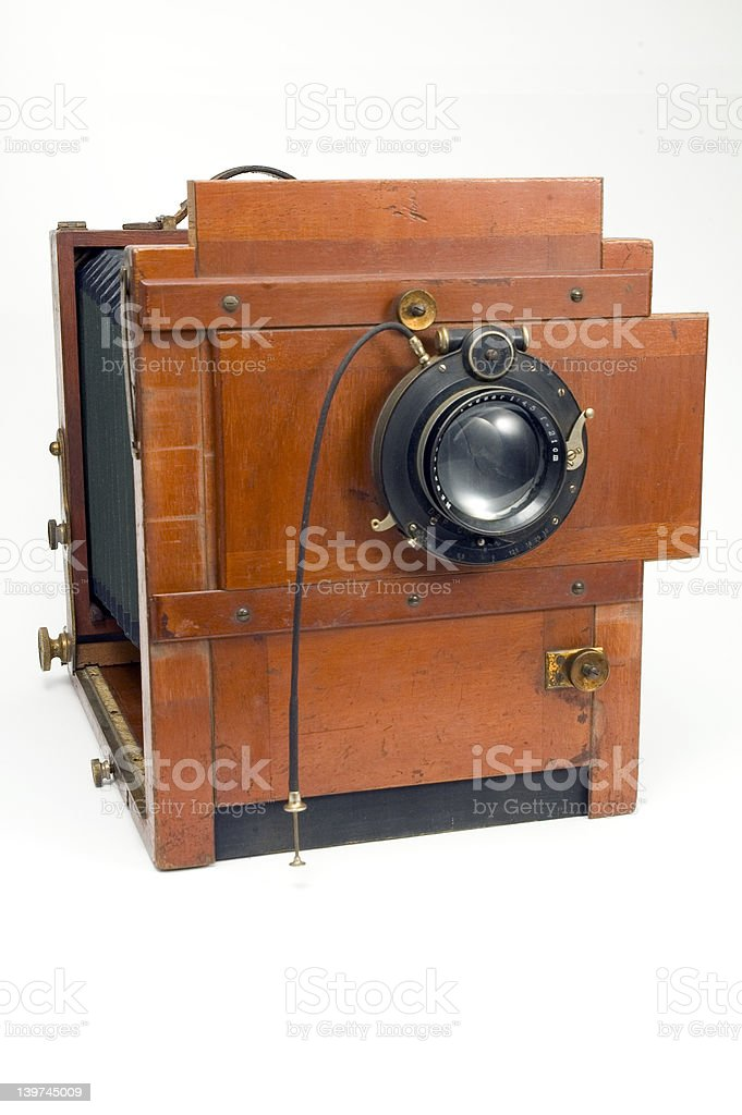 old wooden box photo camera royalty-free stock photo