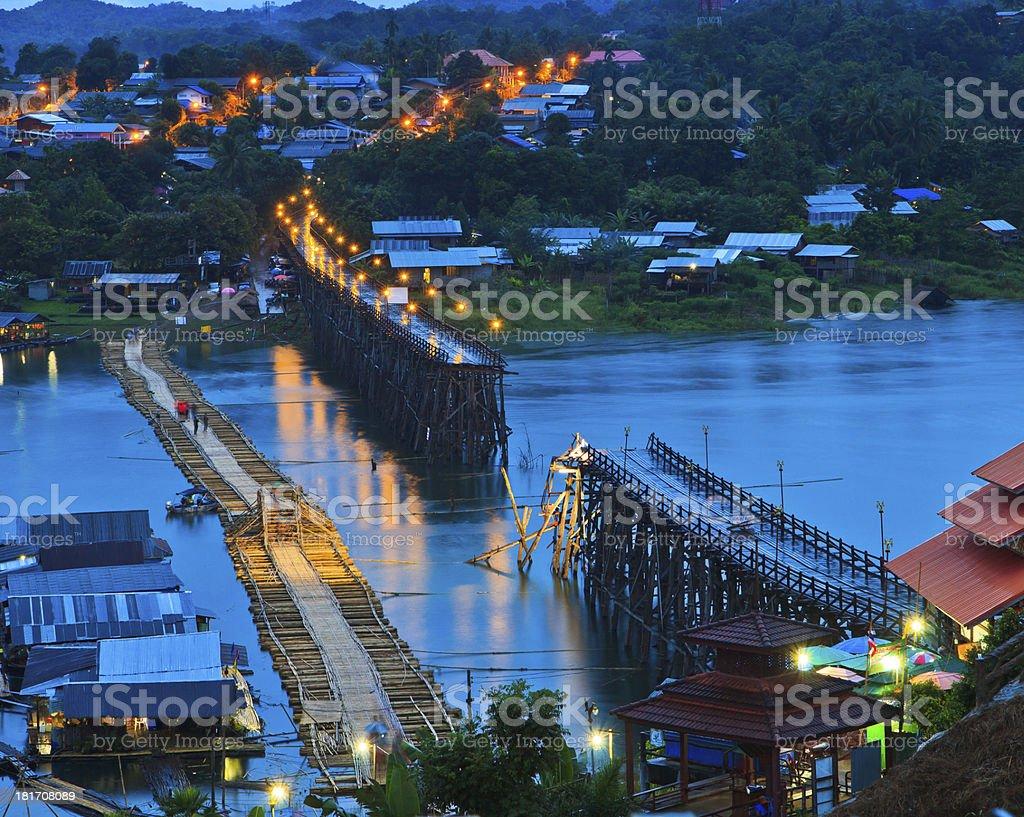 Old wooden bridge collapsed  Asia Thailand royalty-free stock photo