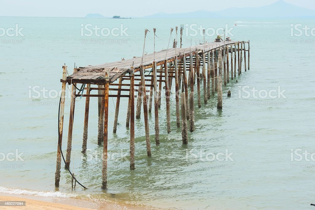 old wooden brigde stock photo