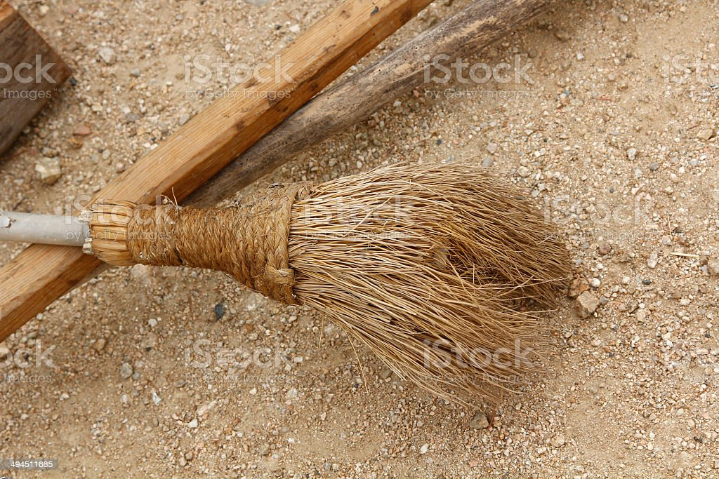old wooden broom stock photo