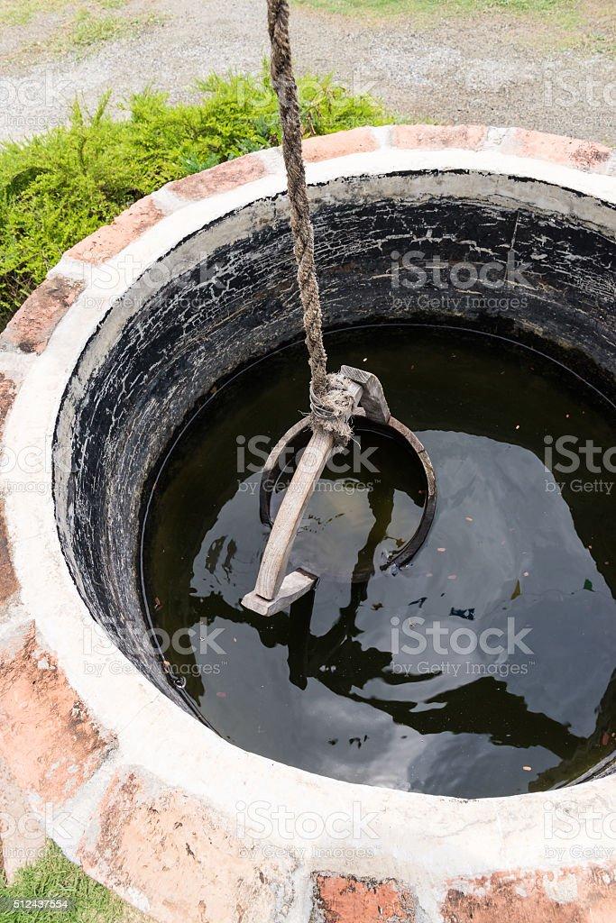 Old wooden bucket stock photo
