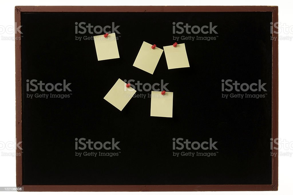 Old wooden bulletin board with adhesive note on white background royalty-free stock photo