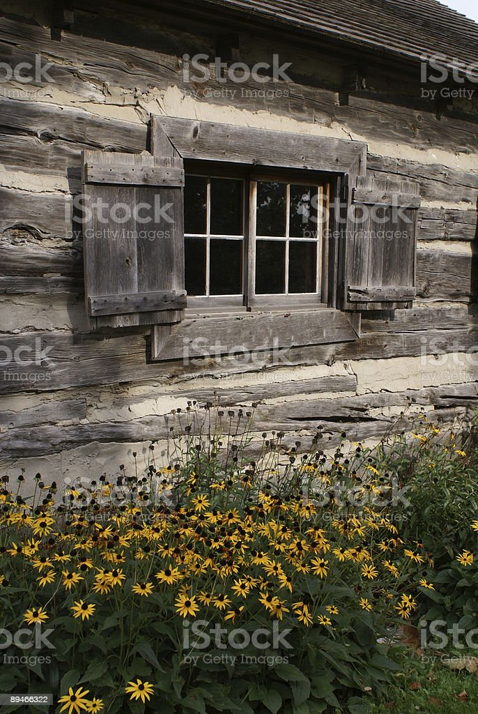 Old Wooden Cabin Window royalty-free stock photo
