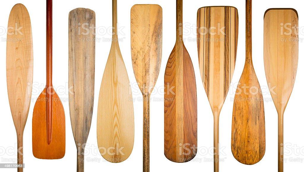 old wooden canoe paddles stock photo