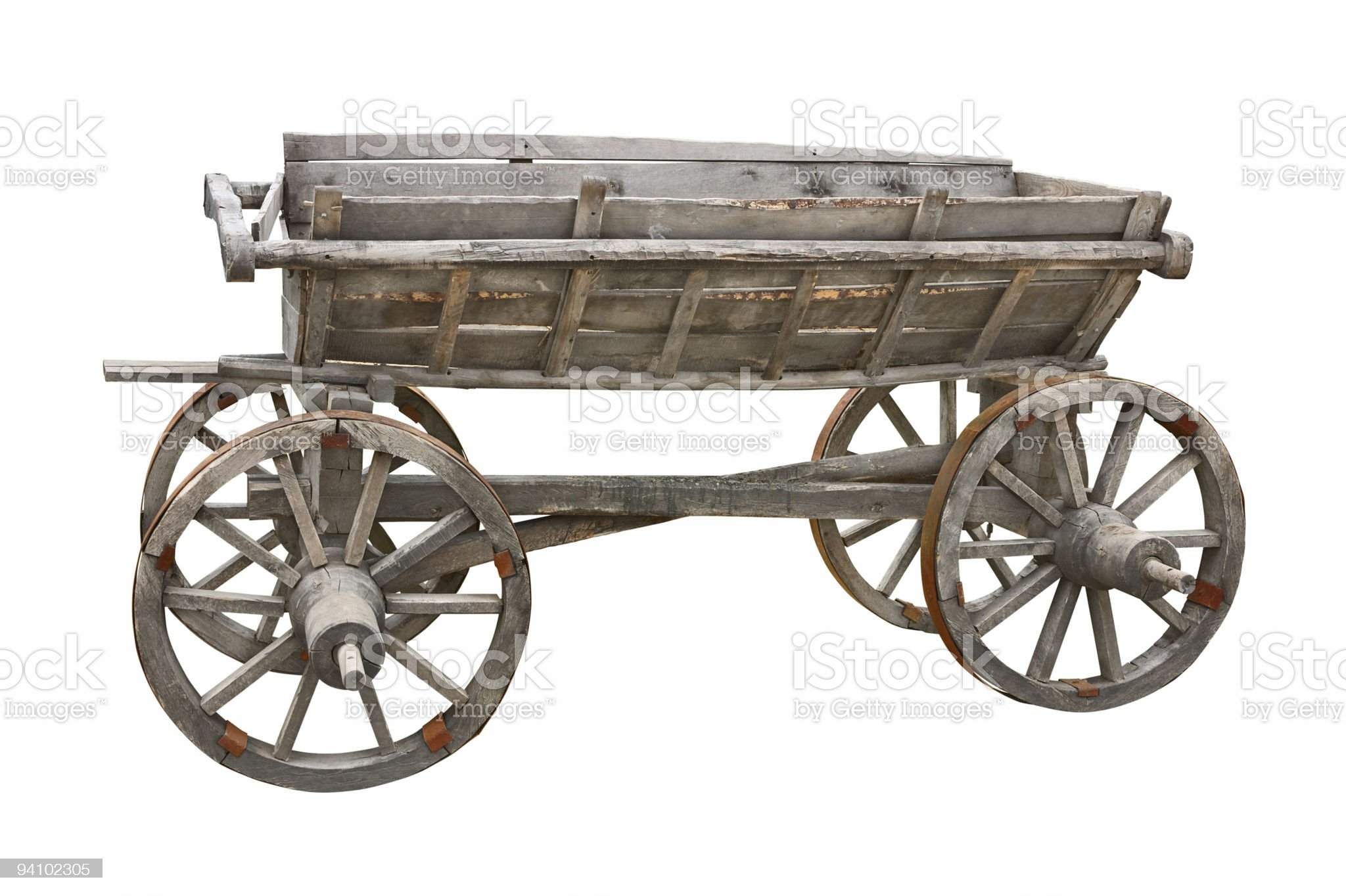 Old wooden cart cutout royalty-free stock photo