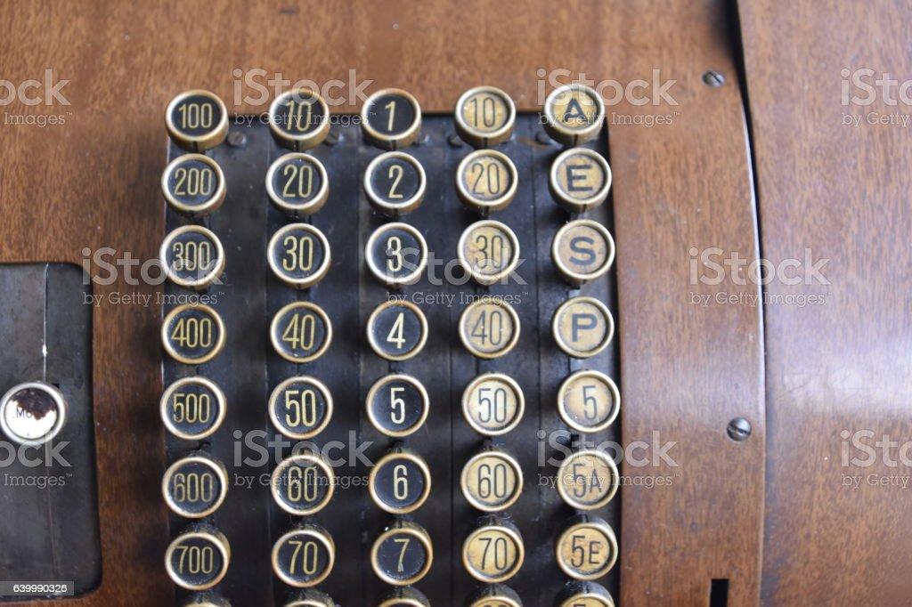 Old wooden cash register stock photo