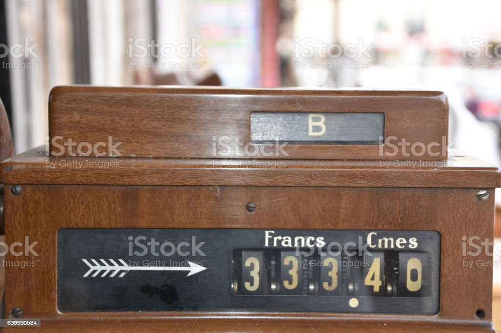 Old wooden cash register stock photo