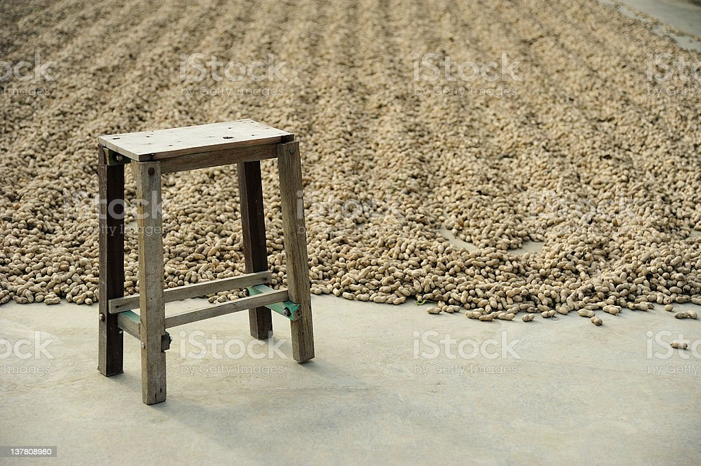 Old Wooden Chair with Peanut Background stock photo