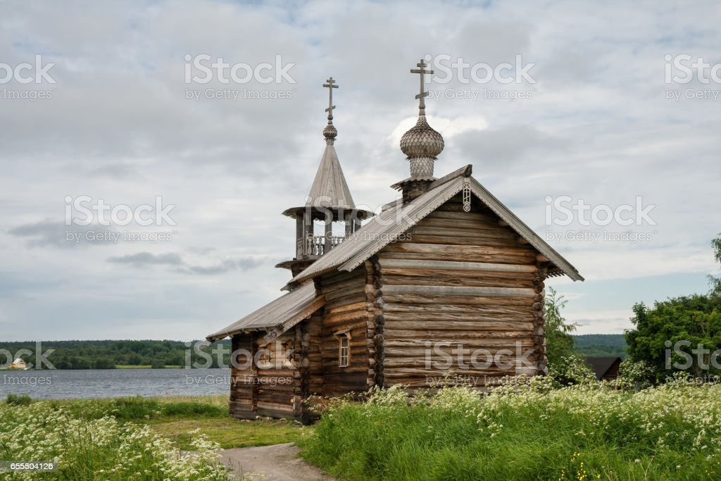 Old wooden chapel on the lake, Kizhi stock photo