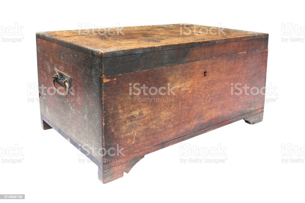 Old wooden chest box isolated on white background.Old wooden treasure box isolated stock photo