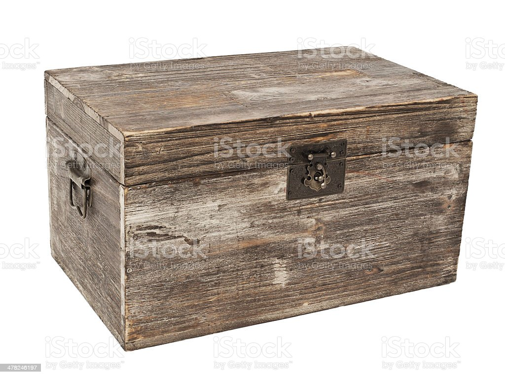 old wooden chest is isolated on white royalty-free stock photo