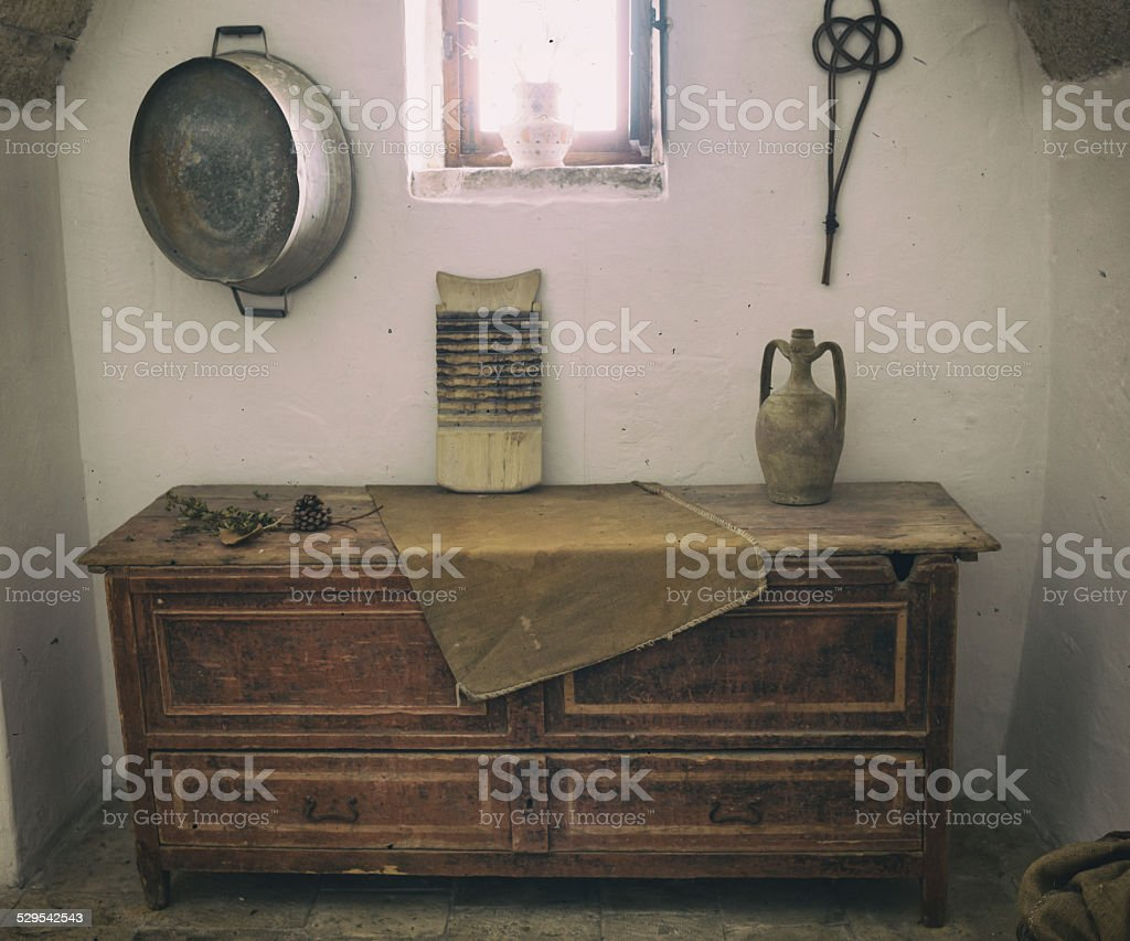 Old wooden chest of drawers. stock photo