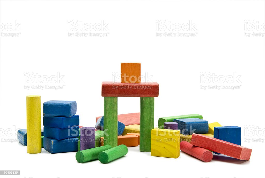 old wooden children's play blocks royalty-free stock photo
