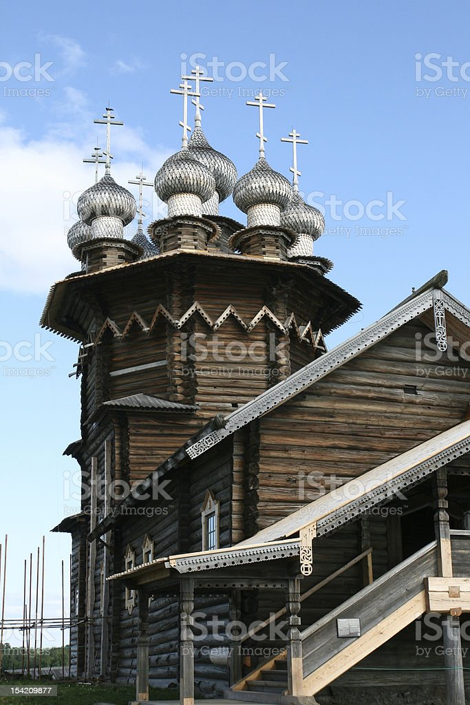 Old wooden church on Kizhi island Russia royalty-free stock photo