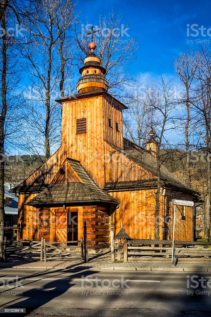 Old wooden church, Zakopane, Poland stock photo