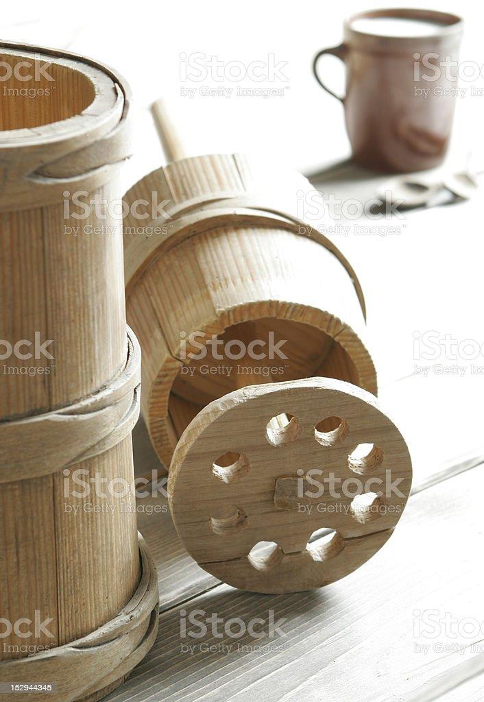 Old wooden churn stock photo