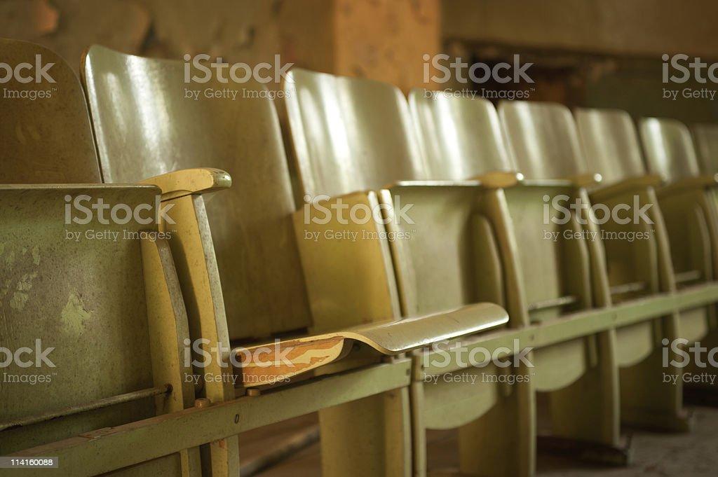 old wooden cinema seats stock photo