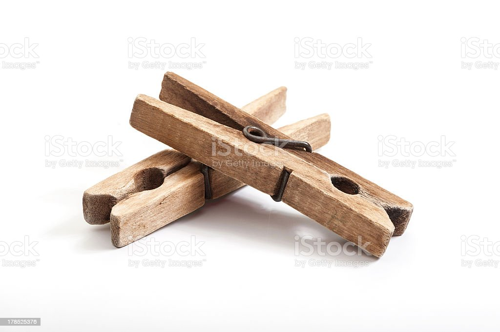 old wooden clothes pegs royalty-free stock photo