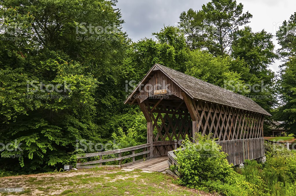 old wooden covered bridge in alabama royalty-free stock photo