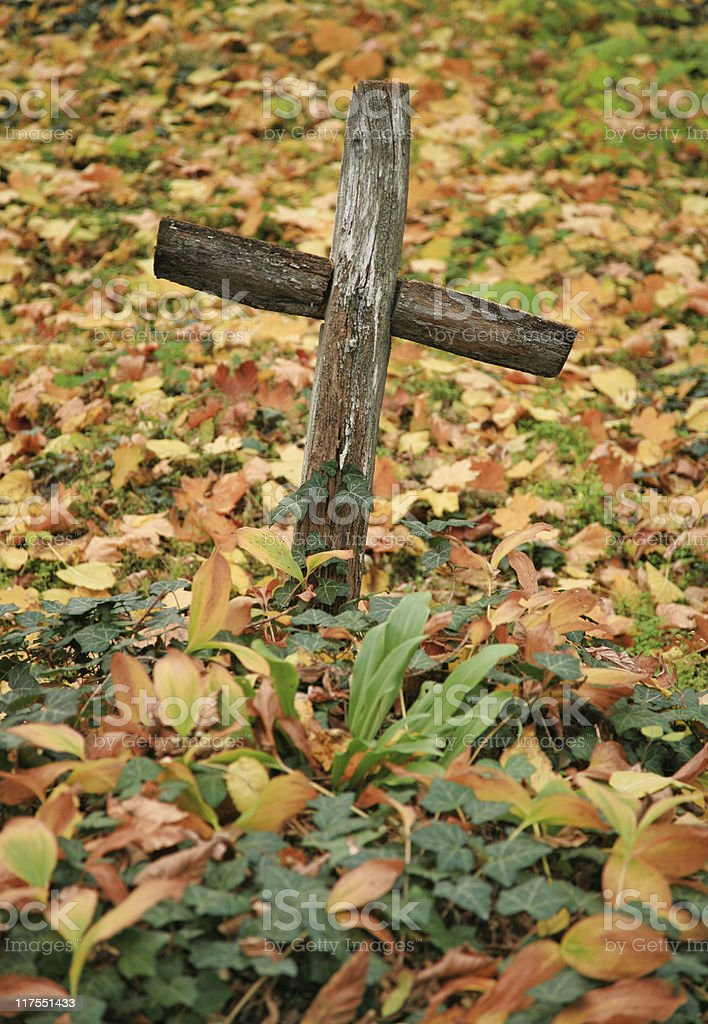 old wooden cross in the autumn foliage royalty-free stock photo