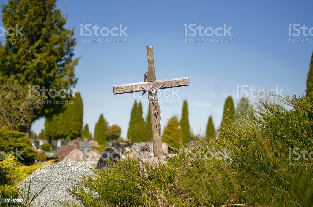 Old wooden cross stock photo