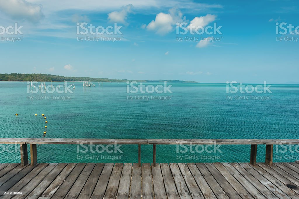 Old wooden deck for relaxation at Koh Kood Island,Thailand stock photo