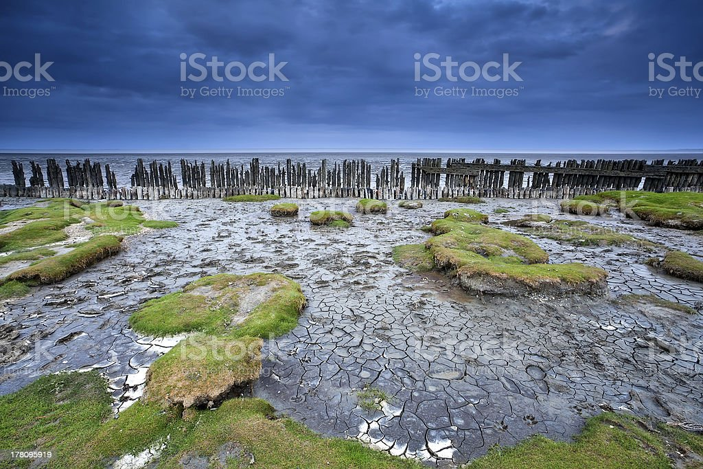 old wooden dike and mud at low tide, Moddergat, Netherlands stock photo