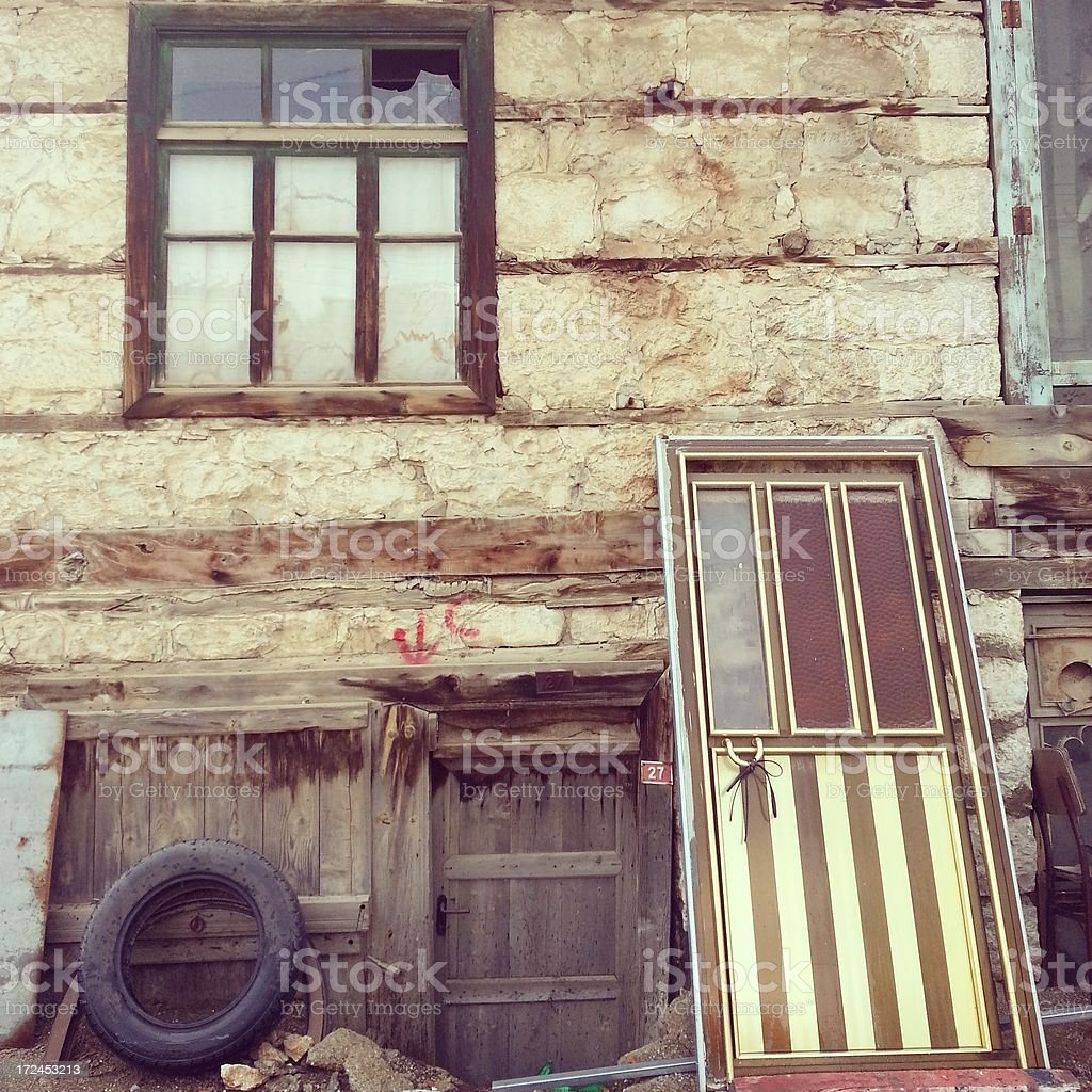 Old Wooden Door and Window royalty-free stock photo