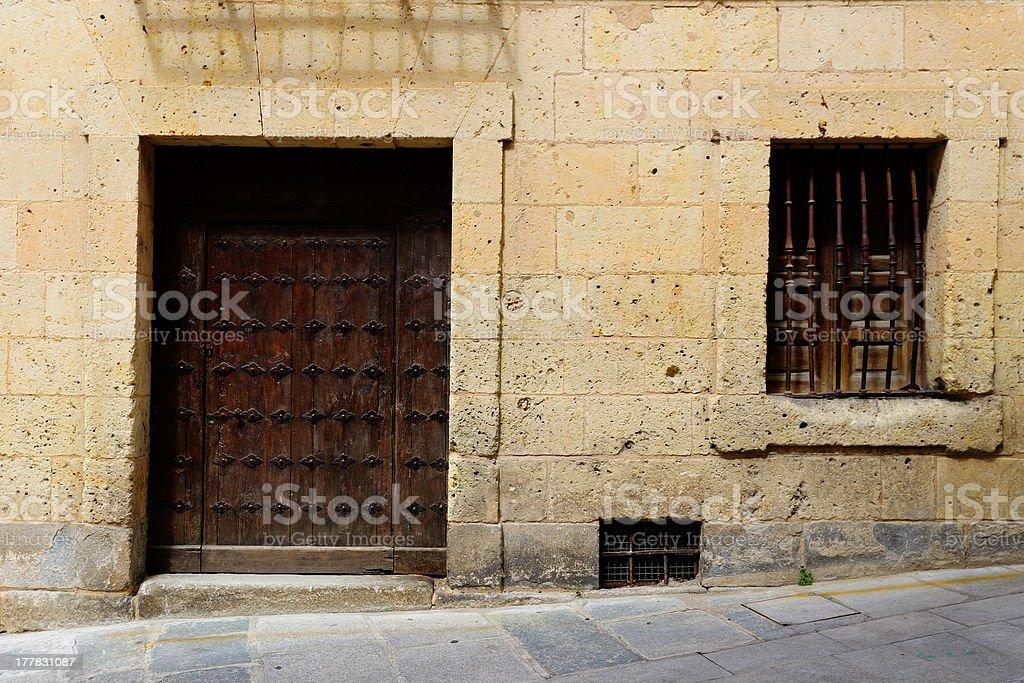 Old wooden door and window stock photo
