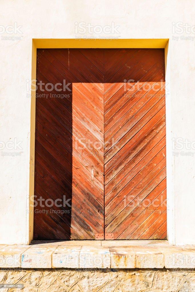 Old wooden door as background stock photo
