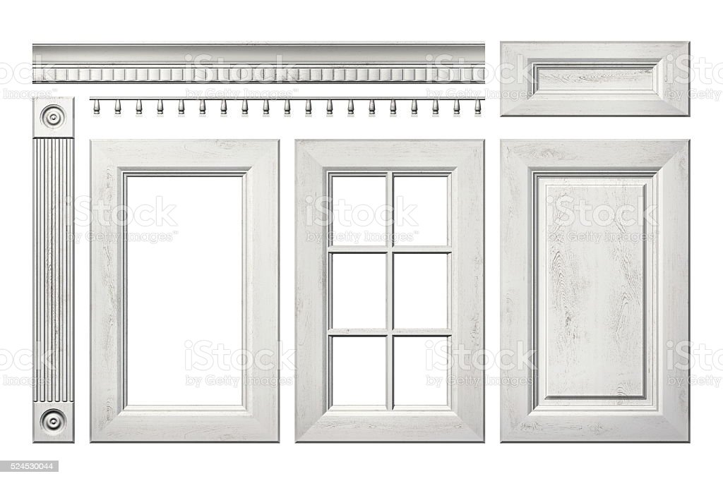 Old wooden door, drawer, column, cornice, white isolated kitchen cabinet stock photo