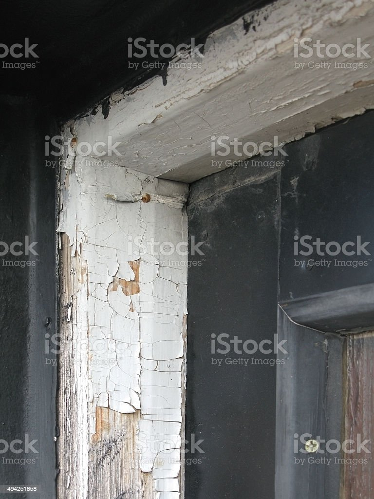 Old wooden door frame stock photo