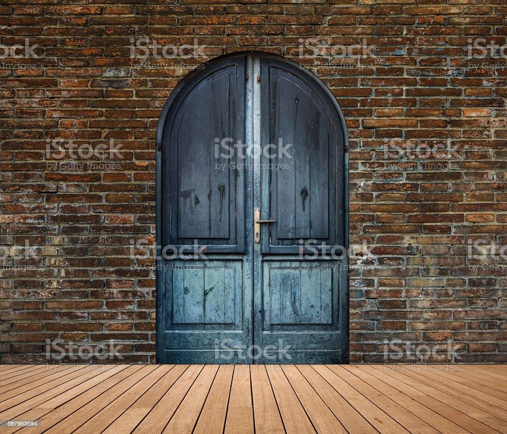 Old wooden door of house stock photo