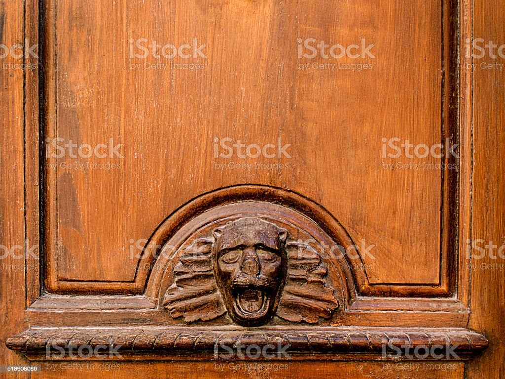 Old wooden door panel  with face stock photo
