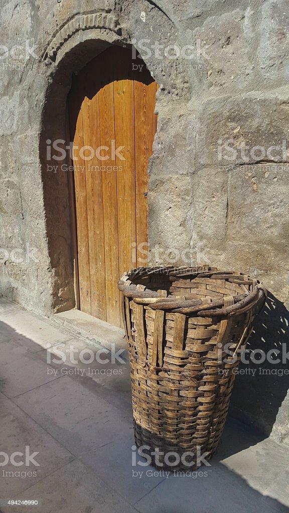 Old wooden door stock photo