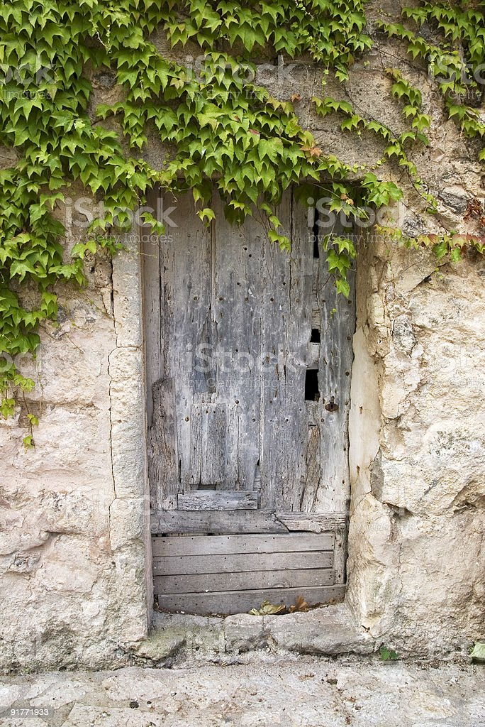 Old wooden door, Valdemossa stock photo