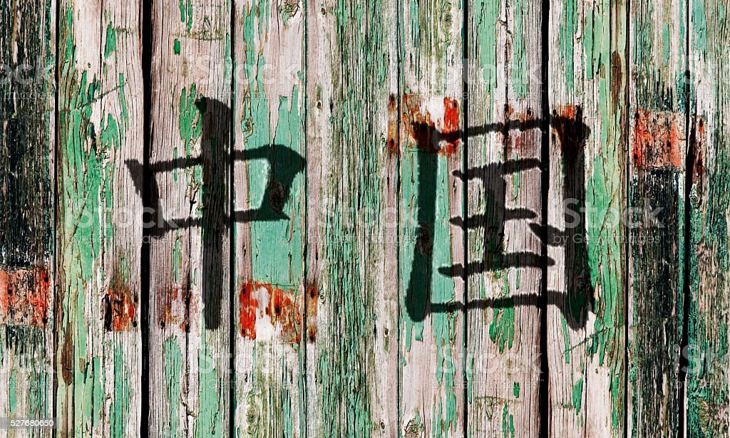 Old wooden door with Chinese writing stock photo