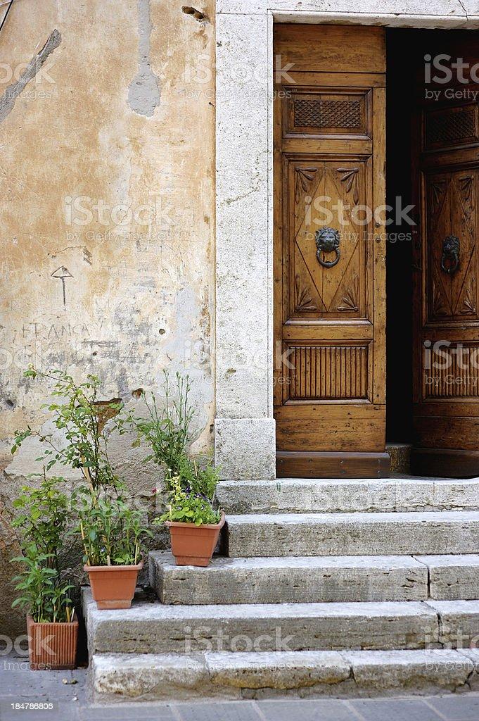 Old wooden door with flowers stock photo