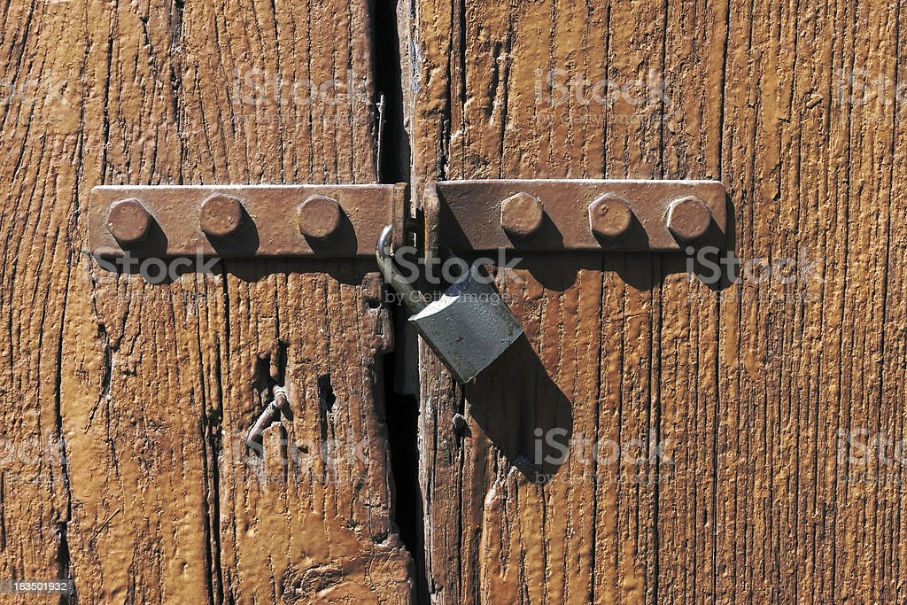 old wooden door with lock royalty-free stock photo