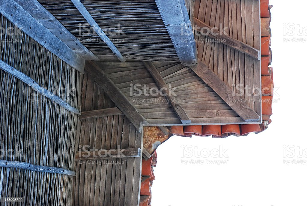 Old wooden eaves stock photo