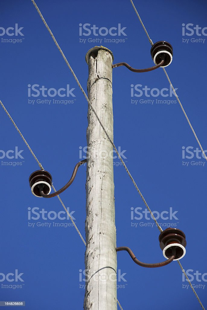 Old wooden electricity pole royalty-free stock photo