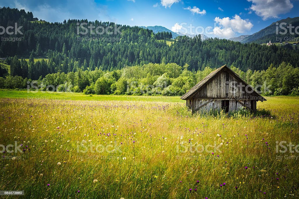 Old wooden farm house in the Austrian countryside stock photo