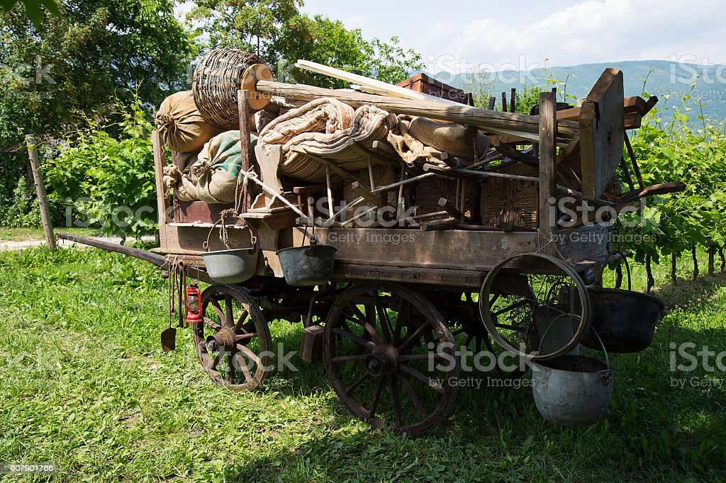 Old wooden farm Wagon -  Chariot in vintage style stock photo