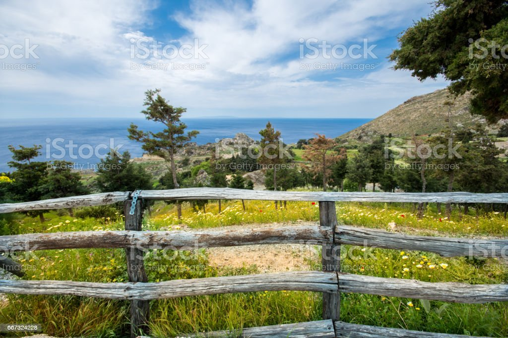 Old wooden fence with a field of flowers and the sea at the background, Crete, Greece. stock photo