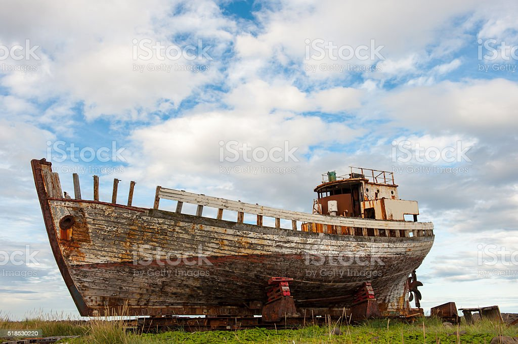 Old wooden fishing boat, Akranes, Iceland stock photo