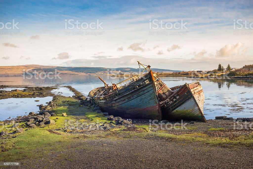old wooden fishing boat wrecks on mull stock photo