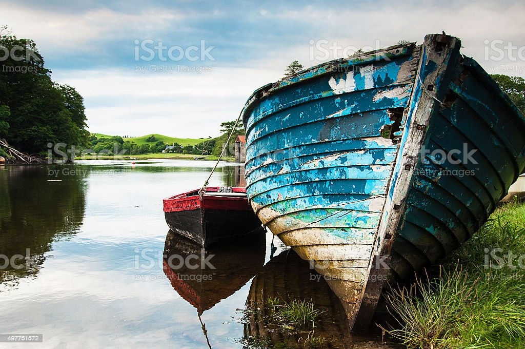 Old Wooden Fishing Boats in Ireland stock photo