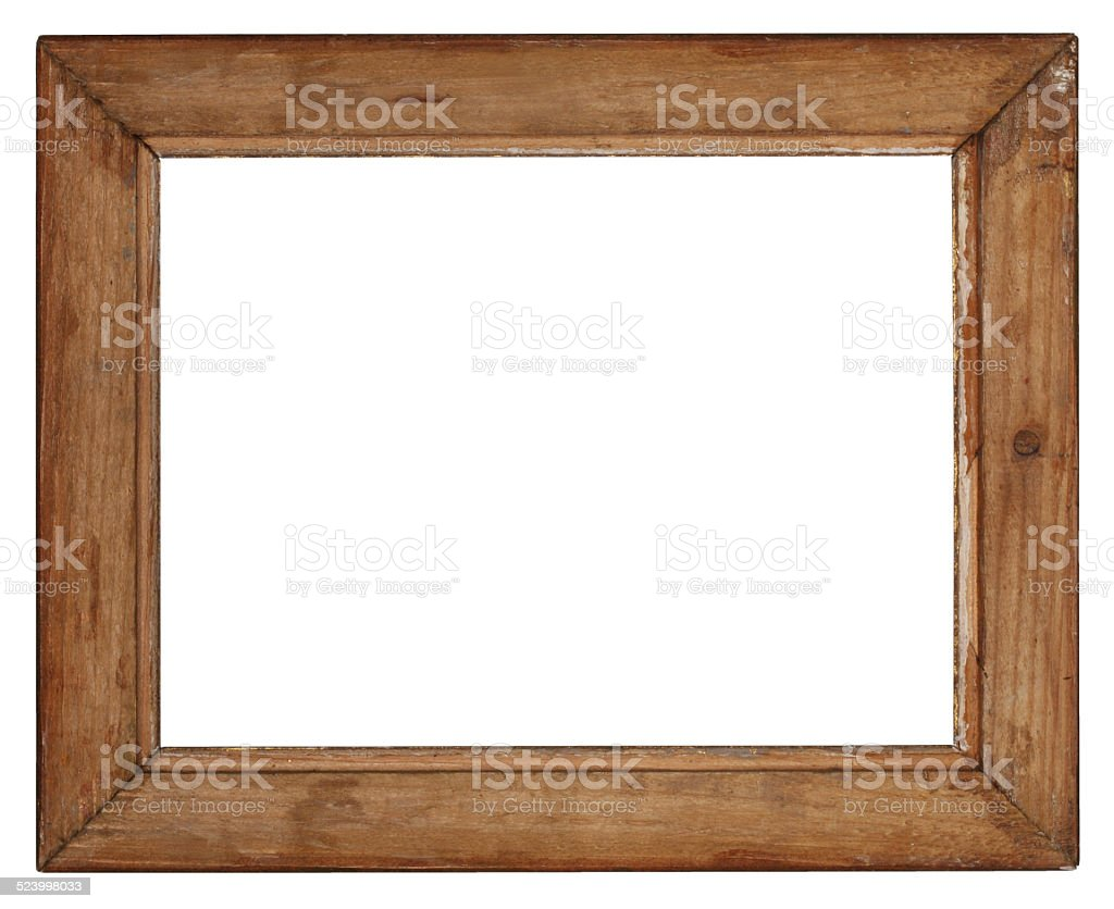 old wooden frame on white background stock photo